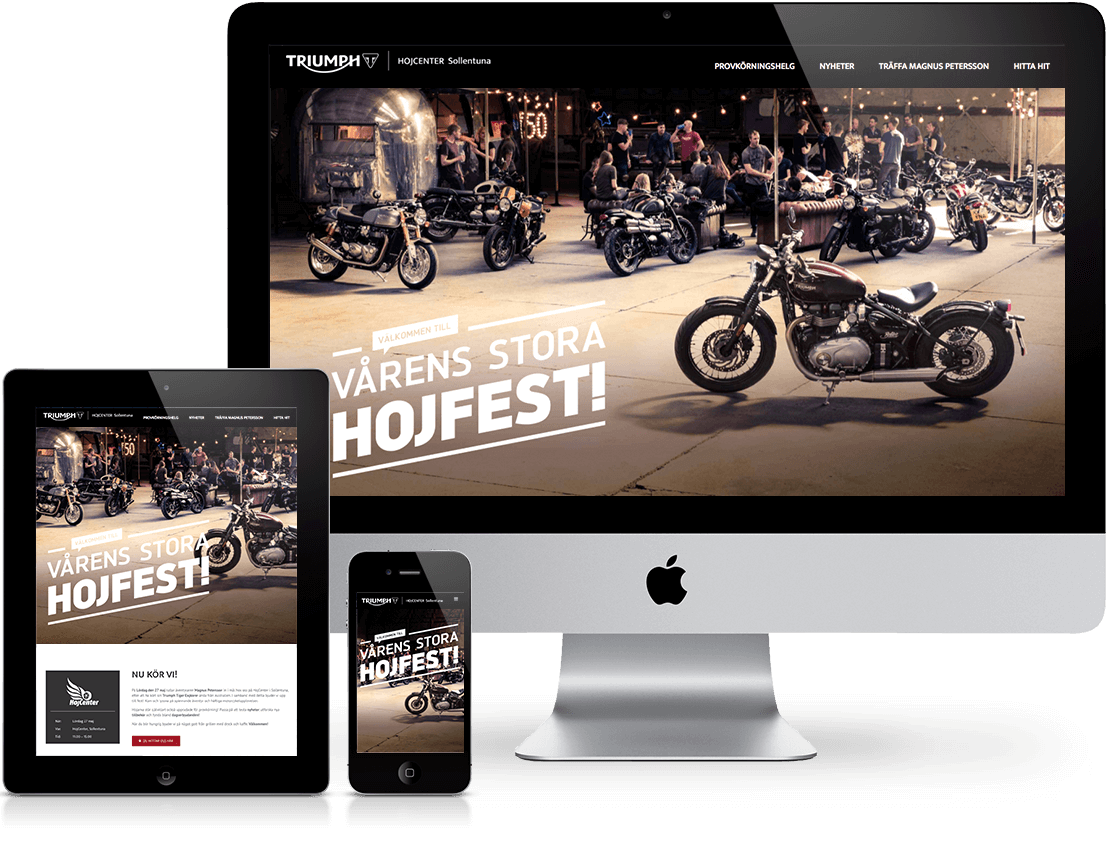 triumph webpage design