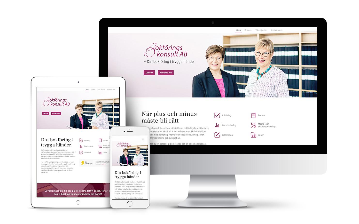 bokforingskonsult webpage design
